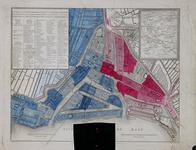 1973-5377 Kaart van Rotterdam. Inzet: kaart van midden Nederland. De stad is met blauw en rood verdeeld in twee ...