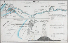 1973-5440 Kaart van de Nieuwe Maas en het Scheur waarop het ontwerp voor de verbetering van de vaarweg van Rotterdam ...