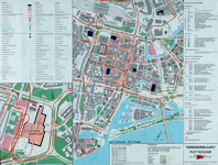 1974-2154A Plattegrond van de binnenstad van Rotterdam met informatie voor weggebruikers. Inzetkaart: Zuidplein en ...
