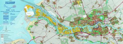 1974-959 Kaart van Rotterdam en omgeving waarop de uitvoering van de wegenruit en de waterkering per 1 januari 1974 is ...