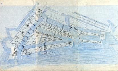 1978-2002 Plattegrond van de waterstad met daarop aangetekend gronduitgiften in Rotterdam tussen 1574 en 1638