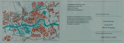 1979-345 Kaart van Rotterdam met de route naar het nieuwe hoofdkantoor van Gemeentewerken aan het Marconiplein