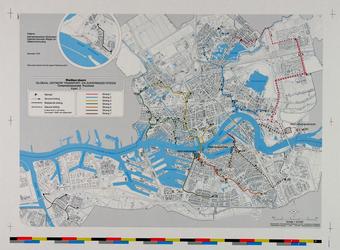 1979-372 Kaart van Rotterdam en de riolering, met een ontwerp voor het transport- en zuiveringsysteem. Inzet: Hoek van ...