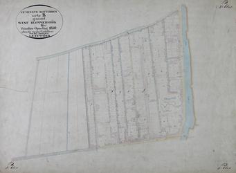 1979-708 Kadastrale kaart van Rotterdam, sectie B, genaamd West-Blommersdijk. Het afgebeelde lanengebied wordt begrensd ...