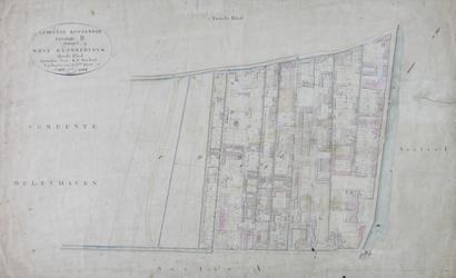 1979-710 Kadastrale kaart van Rotterdam, sectie B, genaamd West-Blommersdijk. Het afgebeelde lanengebied wordt begrensd ...