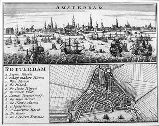 1979-804 Plattegrond van Rotterdam afgedrukt op één blad met een profiel van Amsterdam.