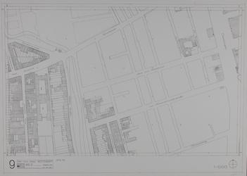 1980-20 Kaart van de binnenstadvan Rotterdam, bestaande uit 20 bladen. Blad 9 de Aert van Nesstraat en de van ...
