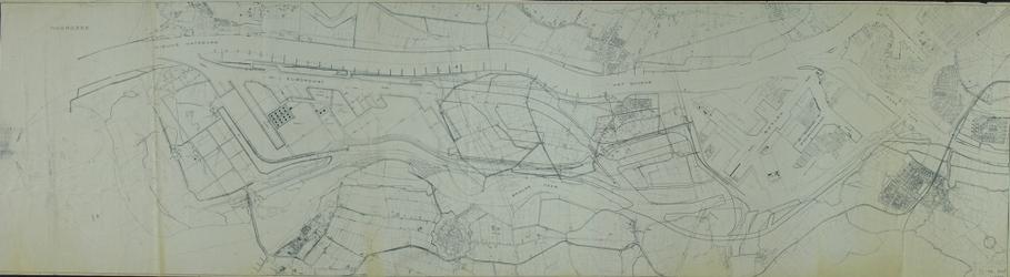 1980-206 Kaart van Hoogvliet en tot aan de Noordzee met plannen voor havenuitbreidingen in het Europoortgebied en op de ...