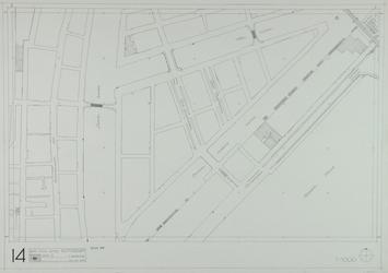 1980-25 Kaart van de binnenstad van Rotterdam, bestaande uit 20 bladen. Blad 14 de Leuvehaven en de Wijnhaven