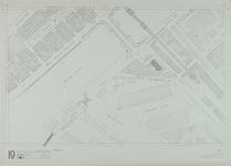 1980-30 Kaart van de binnenstad van Rotterdam, bestaande uit 20 bladen. Blad 19 de Koninginnebrug en het Entrepotgebouw