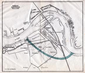 1980-359 Kaart van Feijenoord en Hillesluis met een geprojecteerd kanaal door de Hillepolder