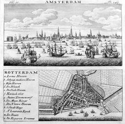 1981-1033 Plattegrond van Rotterdam, afgedrukt op één blad met een profiel van Amsterdam.