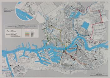 1981-237 Kaart van Rotterdam en de riolering, met een ontwerp voor het transport- en zuiveringsysteem. Inzet: Hoek van ...
