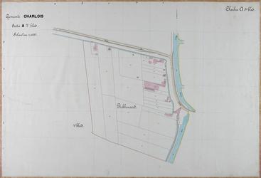 1981-2921 Kadastrale kaart van Charlois, sectie A, 5e blad. Het afgebeelde gebied (deel van de polder Robbenoord) wordt ...