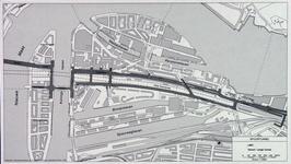 1982-3278 Plattegrond van het ontwerptracé van de Willemsspoortunnel en omgeving op Rotterdam-Zuid