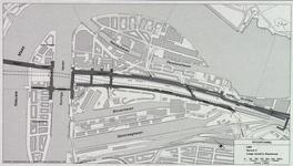 1982-3279 Plattegrond van het ontwerptracé van de Willemsspoortunnel en omgeving op Rotterdam-Zuid, variant 2