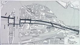 1982-3280 Plattegrond van het ontwerptracé van de Willemsspoortunnel en omgeving op Rotterdam-Zuid, variant 3