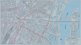 1982-3282 Plattegrond van het ontwerptracé van de Willemsspoortunnel en omgeving op de rechter Maasoever met daarop ...
