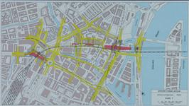 1982-3283 Plattegrond van het ontwerptracé van de Willemsspoortunnel en omgeving op de rechter Maasoever met daarop ...