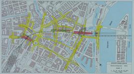 1982-3285 Plattegrond van het ontwerptracé van de Willemsspoortunnel en omgeving op de rechter Maasoever met daarop ...