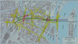 1982-3288 Plattegrond van het ontwerptracé van de Willemsspoortunnel en omgeving op de rechter Maasoever met daarop ...