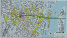 1982-3289 Plattegrond van het ontwerptracé van de Willemsspoortunnel en omgeving op de rechter Maasoever met daarop ...