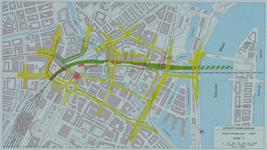 1982-3290 Plattegrond van het ontwerptracé van de Willemsspoortunnel en omgeving op de rechter Maasoever met daarop ...