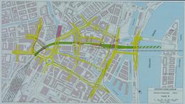 1982-3291 Plattegrond van het ontwerptracé van de Willemsspoortunnel en omgeving op de rechter Maasoever met daarop ...