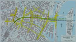 1982-3292 Plattegrond van het ontwerptracé van de Willemsspoortunnel en omgeving op de rechter Maasoever met daarop ...