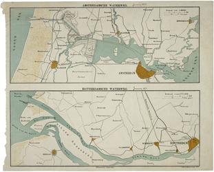 1982-954 Kaarten van de waterwegen van Amsterdam en Rotterdam naar zee