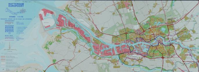 1982-959 Kaart van Rotterdam en omgeving waarop de uitvoering van de wegenruit en de waterkering per 1 januari 1973 is ...