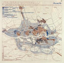 1983-66 Kaart van Rotterdam met vermelding van de bestaande en toekomstige bebouwing en industrie- en handelsterreinen, ...