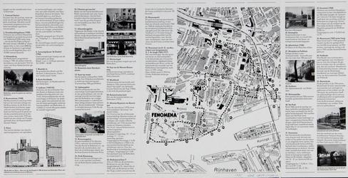 1985-1070-1 Plattegrond van de binnenstad van Rotterdam met een wandelroute