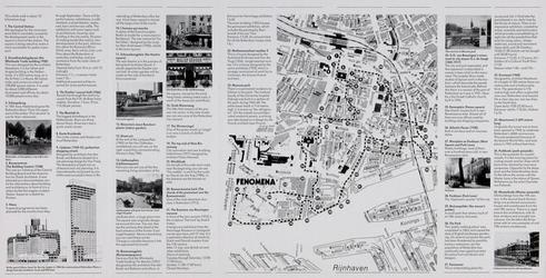 1985-1070-3 Plattegrond van de binnenstad van Rotterdam met een wandelroute