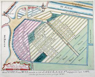 1986-1369 Het grondgebied van het voormalige Hof van Weena, dat is ingericht als raamgebied voor de lakenindustrie.