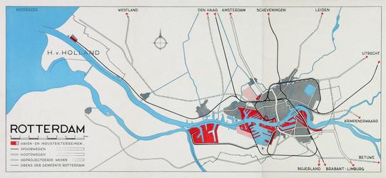 1986-357-II Kaart van Rotterdam en omgeving met aanduiding [in rood] van haven- en industrieterreinen en hoofdwegen.