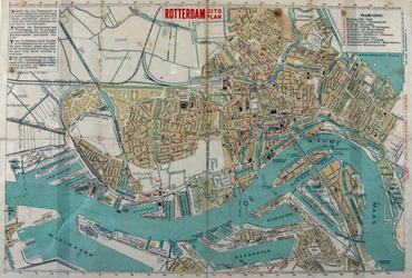 1989-1744 Plattegrond van Rotterdam. Het afgebeelde stadsgebied wordt begrensd door de Waalhaven, de Keilehaven, ...