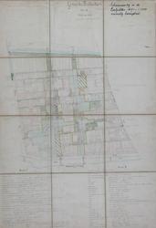 1989-2745 Plattegrond van het voormalige lanengebied in Cool met geprojecteerde straten tussen de Coolvest en de Westersingel