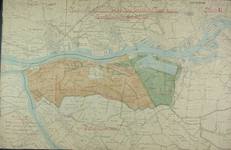 1990-132 Kaart van een uitbreidingsplan voor havens op de Linker Maasoever met aanduiding van de te onteigenen ...