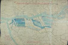 1990-133 Kaart van een uitbreidingsplan voor havens op de Linker Maasoever ter plaatse van de latere Eemhaven en 1e en ...