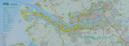 1990-305 Kaart van het havengebied van Rotterdam met aanduiding van de locatie van het Rotterdams Havenbedrijf (RHB) BV.