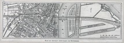 1990-352 Plattegrond van het nieuwe spoorviaduct en de nieuwe bruggen te Rotterdam.