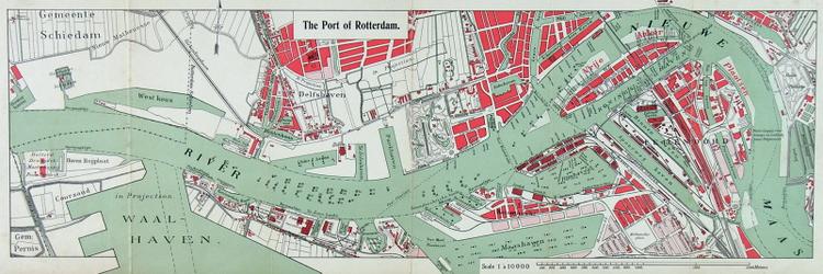 1990-47 Kaart van de havens van Rotterdam. Verso: kaart de Nieuwe Waterweg van zee naar Rotterdam