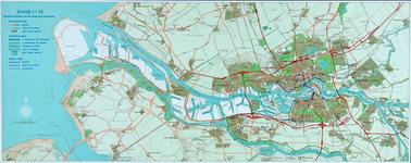 1991-3384 Kaart van Rotterdam en omgeving waarop de uitvoering van de wegenruit en de waterkering per 1 januari 1972 is ...