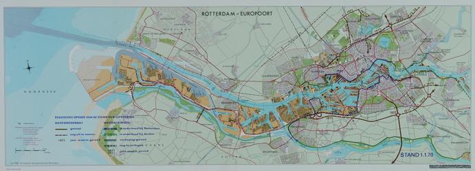 1991-3385 Kaart van Rotterdam en omgeving waarop de uitvoering van het hoofdwegennet en de waterkeringen per 1 januari ...