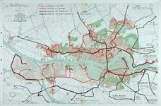 1991-3387 Kaart van Rotterdam en omgeving met daarop ingetekend de tram- en autobuslijnen van de RET, RTM, WSM, Van Gog ...
