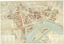 1999-491 Kaart van het centrum van Rotterdam van voor mei 1940 met het plan voor de nieuwe stadskern
