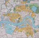 1999-502 Plattegrond van Rotterdam met daarop aangegeven de stadswijken en het aantal inwoners per wijk