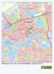 1999-550 Plattegrond van Rotterdam met de route naar het kantoor van PTT Telecom aan de Botersloot