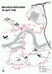 2001-14 Kaart van Rotterdam met de route van de Marathon Rotterdam 28 april 1996